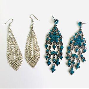 Set of 2 Chandelier Earrings: Turquoise & Silver